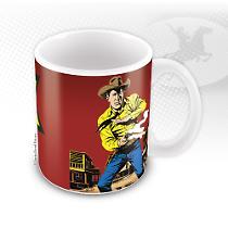 La tazza di Tex con il Ranger del Texas mentre fa fuoco con la sua Colt, in un'illustrazione di Galep!